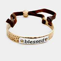 Blessed Two Tone Metal Cinch Bracelet