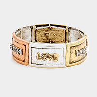 Faith Love Hope Rectangular Metal Stretch Bracelet