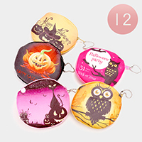 12 PCS - Halloween Theme Print Coin Zipper Purses