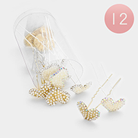 12 PCS - Mini Crystal Pearl Heart Hair Combs Pins