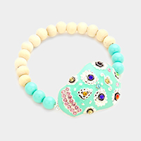 Beaded Multi Sugar Skull Stretch Bracelet