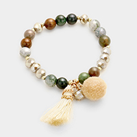 Multi Beaded Tassel Pom Pom Stretch Bracelet