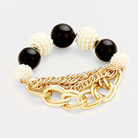 Multi Layered Chain Beaded Stretch Bracelet