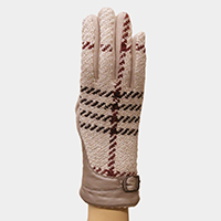 Thermal Plaid Pattern Buckle Detail Touch Gloves