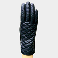 Thermal Embossed Faux Leather Touch Gloves