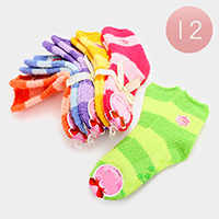 12 Pairs - Striped Soft Warm Microfiber Fuzzy Socks