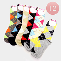 12 Pairs - Plaid Check Socks