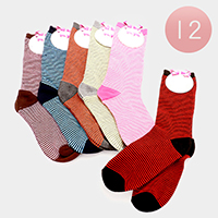 12 Pairs - Striped Socks