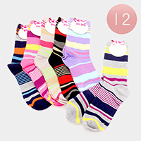 12 Pairs - Multi Striped Socks
