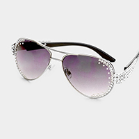 Oversized Crystal Detail Aviator Sunglasses