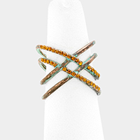 Rhinestone Trim Double X Metal Ring