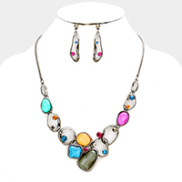 Geometric Metal Hoop Glitter Stone Statement Necklace