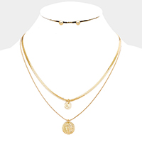 Layered Metal Republique Francaise Coin Disc Necklace