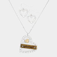 Yourself Wood Metal Heart Pendant Necklace