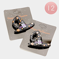 12 PCS Halloween Witch Hat Pin Brooches
