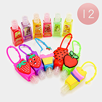 12 PCS Fruits Cupcake Ice cream Heart Silicone Hand Sanitizer Holder