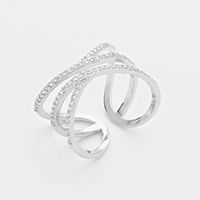 Cubic Zirconia Cut Out Cage Metal Ring