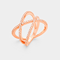 Cubic Zirconia Geometric Metal Ring