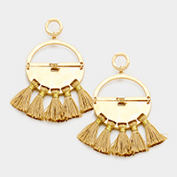 Metal Half Hoop Half Disc Tassel Fringe Earrings