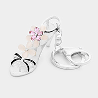 Crystal Flower Evening Sandal Keychain