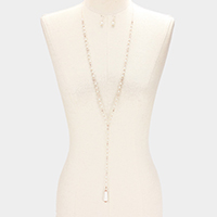 Long Drop Pearl Beaded Y Shaped Necklace