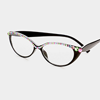 Crystal Detail Semi Cat Eyes Reading Glasses
