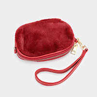 Faux Fur Mini Clutch Bag