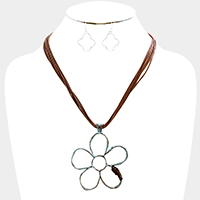 Layered Cord Cut Out Flower Pendant Necklace