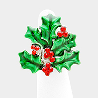 Christmas Holly Berry Stretch Ring