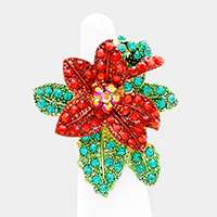Christmas Poinsettia Flower Stretch Ring