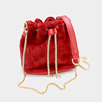 Faux Fur Chain Drawstring Cross Bag