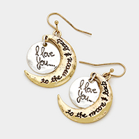 Moon Disc Metal Dangle Earrings