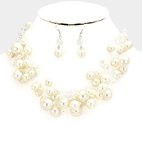 Multi Strand Pearl Beaded Illusion Necklace