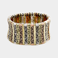 Embossed Antique Metal Stretch Bracelet