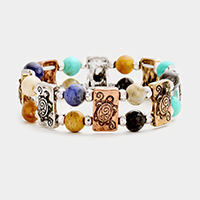 Multi Colored Bead Embossed Turtle Stretch Bracelet