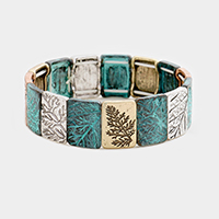 Embossed Branch Metal Stretch Bracelet