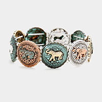 Embossed Elephant Metal Stretch Bracelet