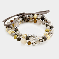 3 Layers Multi Beaded Mother of Pearl Stretch Bracelet