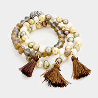 3PCS Multi Beaded Tassel Stretch Bracelet