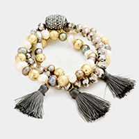 3 Layers Multi Beaded Tassel Stretch Bracelet