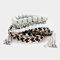 5PCS Wood Multi Beaded Stretch Tassel Wrap Bracelet