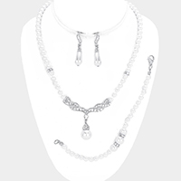 Pearl Marquise Necklace Jewelry Set