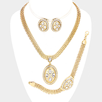 Marquise Rhinestone Trim Oval Dangle Necklace Jewelry Set