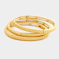 3 Layers Textured Metal Stretch Bracelet