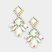 Marquise Glass Stone Statement Evening Earrings