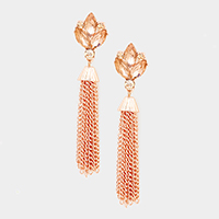 Stone Drop Chain Tassel Earrings