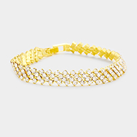 Diagonal Stone Trim Marquise Evening Bracelet