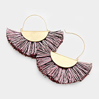 Metal Half Round Tassel Fringe Earrings