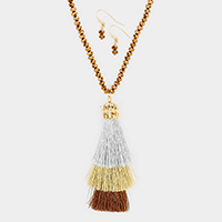 Beaded Layered Triple Tassel Long Necklace