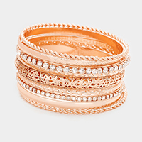 9 Layers Mixed Rhinestone Metal Bangle Bracelets